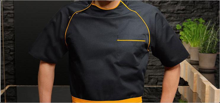 veste cuisine noir et orange,veste cuisine annecy,veste cuisine femme